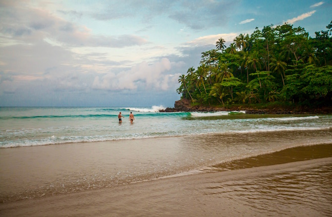 Talalla, one of the beautiful beaches in south-west Sri Lanka - and not a bad wave on its day either!